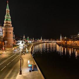 Kremlin by Antonello Madau - City,  Street & Park  Night