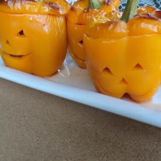 Jack O Lantern Stuffed Peppers