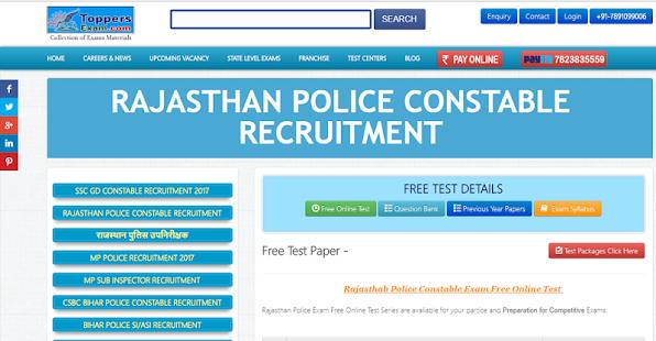 rajasthan police constable exam free online test aplicații pe