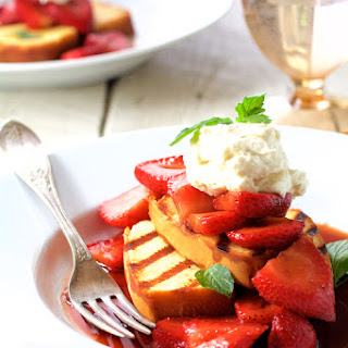 Grilled Pound Cake with Balsamic Macerated Strawberries and Mascarpone Cream.
