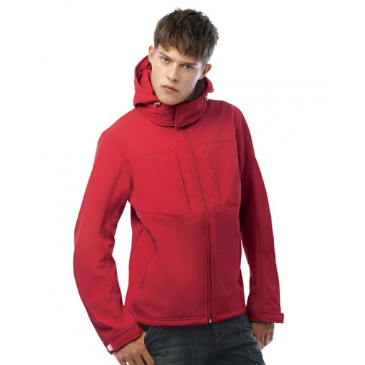B&C Hooded Softshell Jacket Mens (Red)