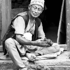 Handcraftted by Chris Wangard - City,  Street & Park  Markets & Shops ( pottery, pottery market, nepal )