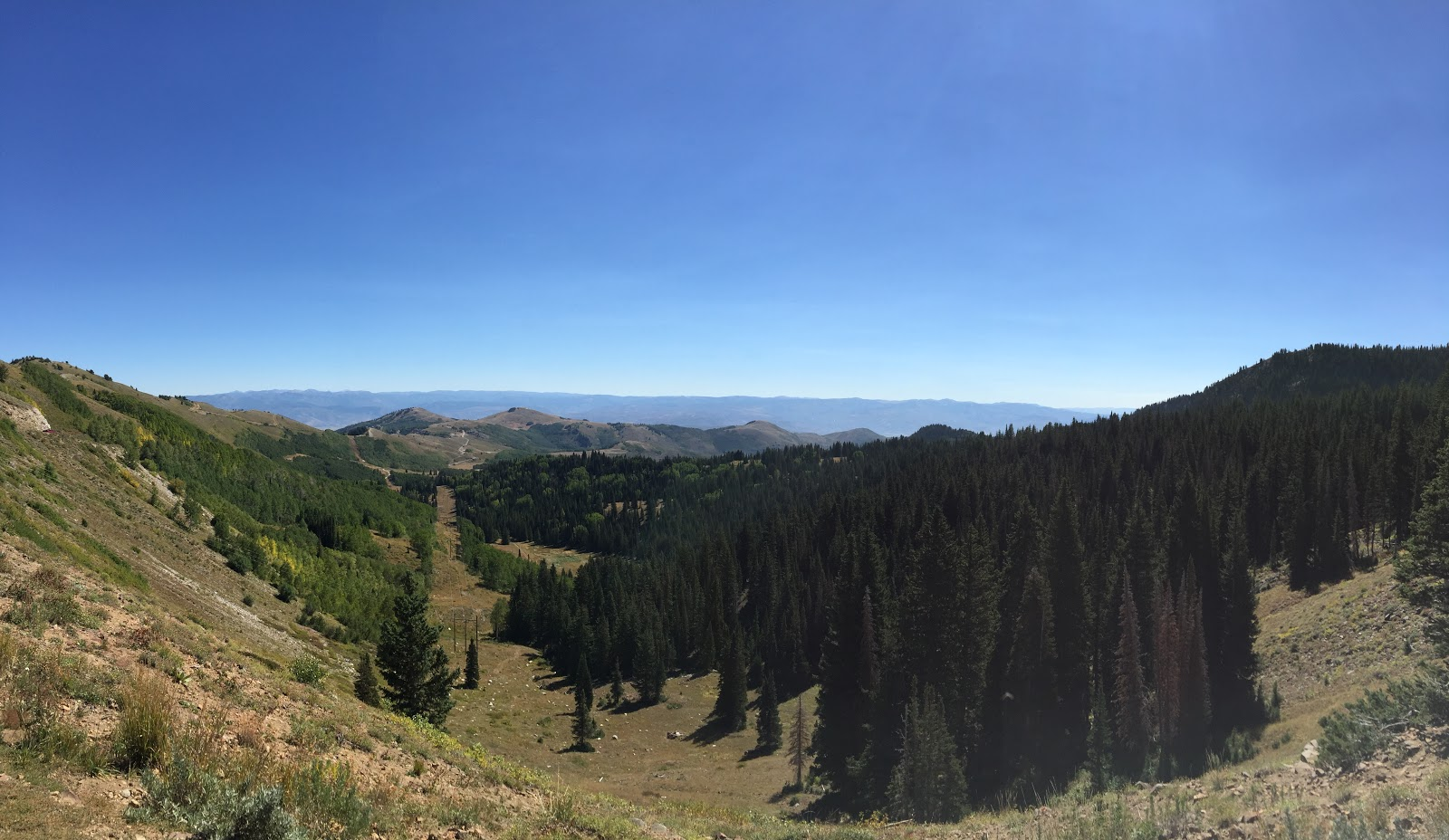 View from top of Guardsman Pass on bike climb from Midway.
