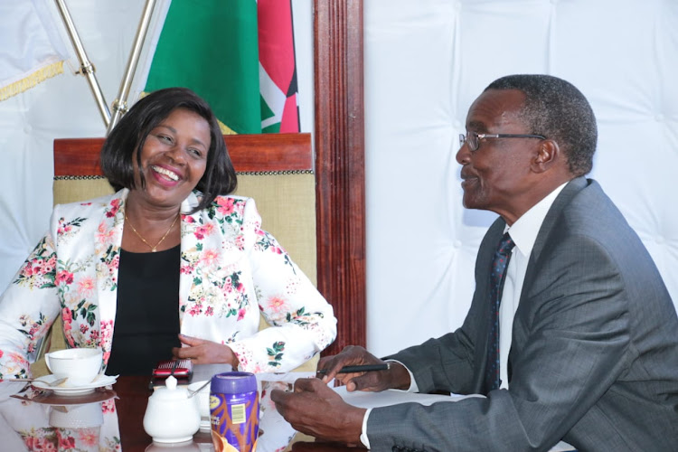 Bomet governor Joyce Laboso with Chief Justice David Maraga when he paid her a courtsey call at her office in Bomet on April 26,this year
