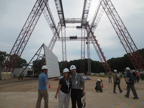 Photo: Angela & Michael under the Gantry. This 240 feet high, 400 feet long and 265 feet wide A-Frame is now called the Landing & Impact Research Facility (LandIR), and is a US National Historic Landmark!