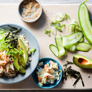 California Roll Sushi Bowls with Crab & Avocado.