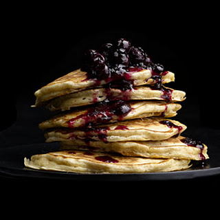 Oatmeal Pancakes with Wild Blueberry Sauce.