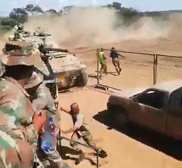 WATCH | Dust flies, soldiers scatter as routine army manoeuvre tanks - SowetanLIVE
