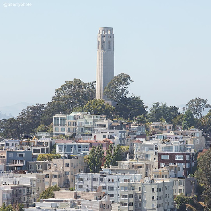 Coit Tower sits atop Telegraph Hill.