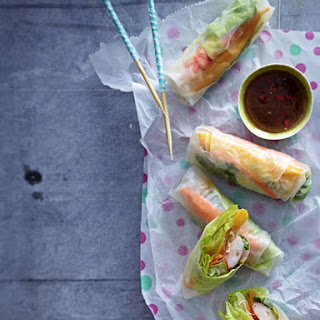 Summer Rolls with Glass Noodles and Shrimp.
