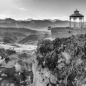 Ronda by Håkan Bley - Landscapes Mountains & Hills ( blackandwhite, mountain, nature, andalucia, canyon, viewpoint, valley, view, landscape, spain, ronda )