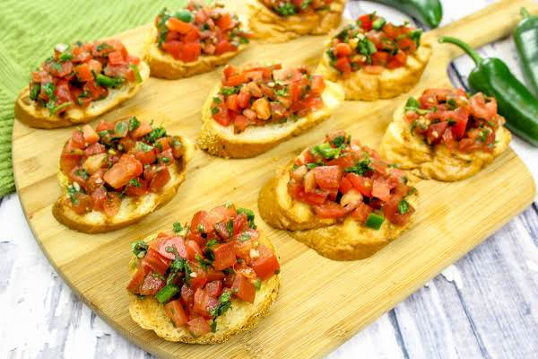 Mexican Bruschetta Ready To Be Served.