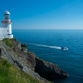 Wicklow Head Lighthouse by F Kelly - Landscapes Waterscapes ( wicklow, irish sea, ireland, wicklow head, lighthouse, sea, fishing, boat )