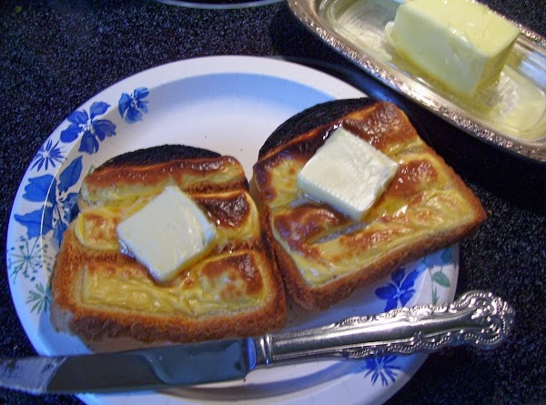 Place your bread on oven grates, just under your broiler. Broil only a minutie or...