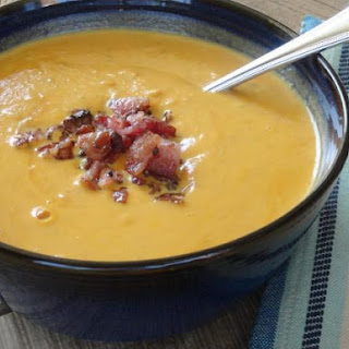 Halloween Pumpkin Soup with Smoked Bacon