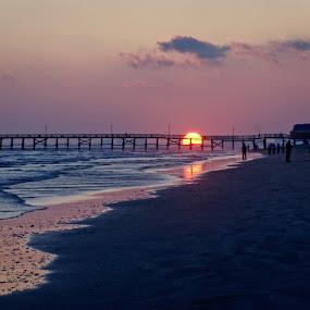 Cherry Grove Beach by Jeff Dugan - Landscapes Beaches ( backlight, sunset, pier, landscapes, south carolina )