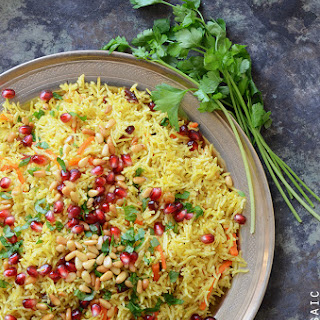 Jewel-Toned Sweet and Savory Basmati Rice Pilaf with Pomegranate