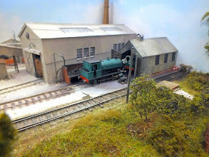 Photo: 004 Another standard gauge layout (HO continental I think) arrived after I had done my first lap of the hall with the camera and by the time I started the second lap, there were too many people in front of it for me to attempt photos, so apologies for omitting one of the layouts present, but here is another one of Peter Bossom's attractive 3mm scale Sub Wealdon Gypsum Company .