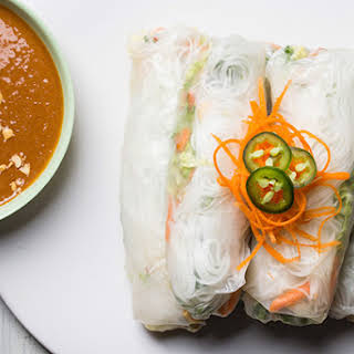 Spicy Summer Rolls with Peanut Dipping Sauce.