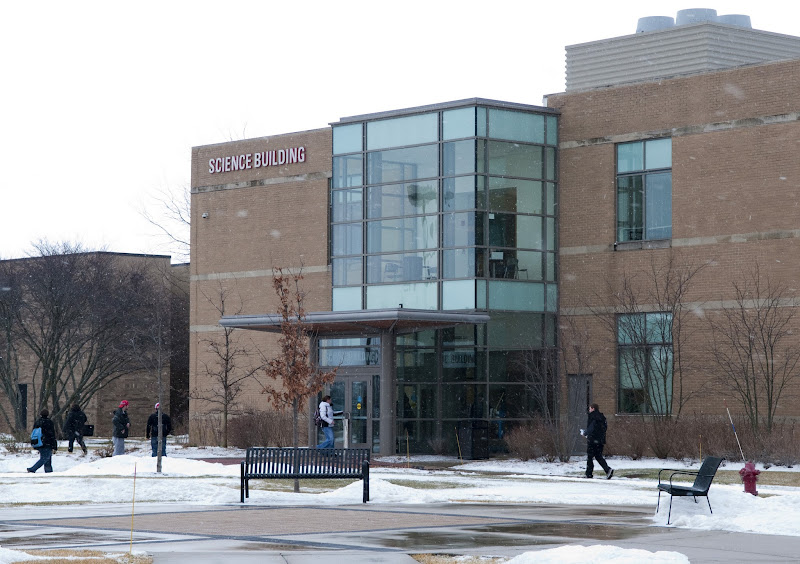 Photo: Students arrive at the Science Building on a wintry first day of spring 2012 classes at Waubonsee Community College.
