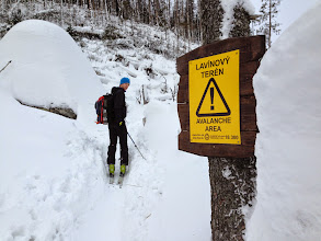 Photo: Entering avalanche area. It was the 3rd grade of the avalanche danger scale (out of 5). We stayed in the safe areas and didn't ski on this day.
