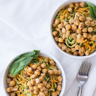 Sweet Potato and Zucchini Noodles with Pesto and Chickpeas