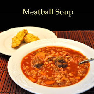 Meatball Soup with Cabbage and Barley.