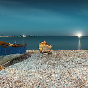 Old boat @ night by Alex Alex - Transportation Boats ( sand, old, night, long exposure, boat )