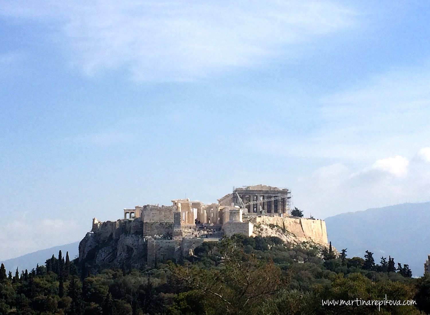 View of Acropolis from Filopappou hill, Athens, Greece