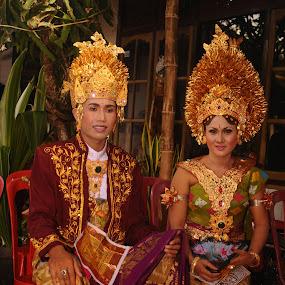 Balinese Bride and Groom by Thomas Chedang - Wedding Bride & Groom