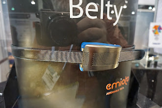 Photo: This belt is an activity monitor, and it also tightens and relaxes itself in different postures and activities.   The metaphors about belt tightening will be endless