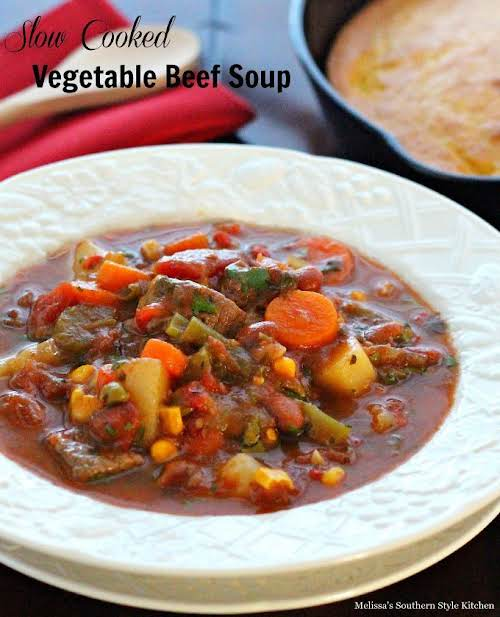 """Click Here for Recipe: Slow Cooked Vegetable Beef Soup """"Old fashioned vegetable..."""