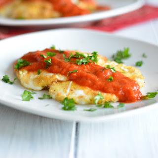 Baked Mozzarella With Marinara Sauce.