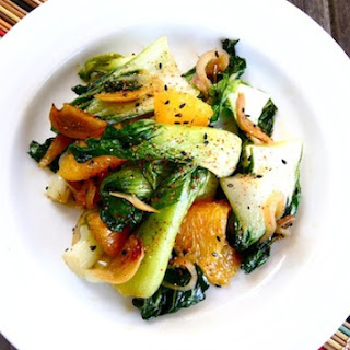 Baby Bok Choy with Crispy Garlic Orange-Sesame Sauce