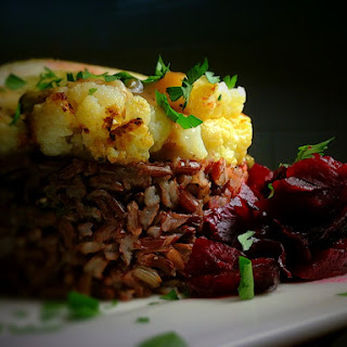 Cauliflower Piccata with Red Cargo Rice & Roasted Beets.