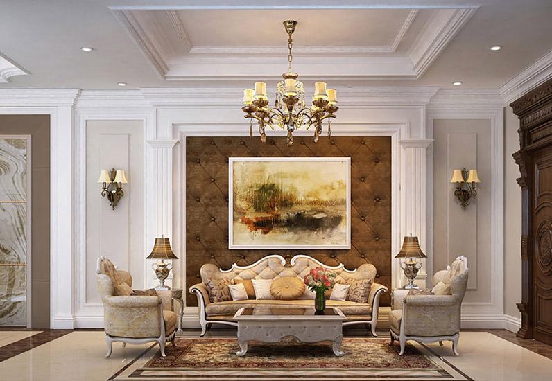 Thiết kế phòng khách tân cổ điển với hệ thống chiếu sáng ấn tượng