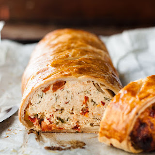 Chicken Meatloaf Wellington with Sun Dried Tomatoes.