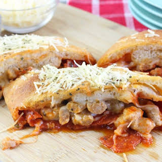 Easy Pepperoni and Sausage Stromboli.