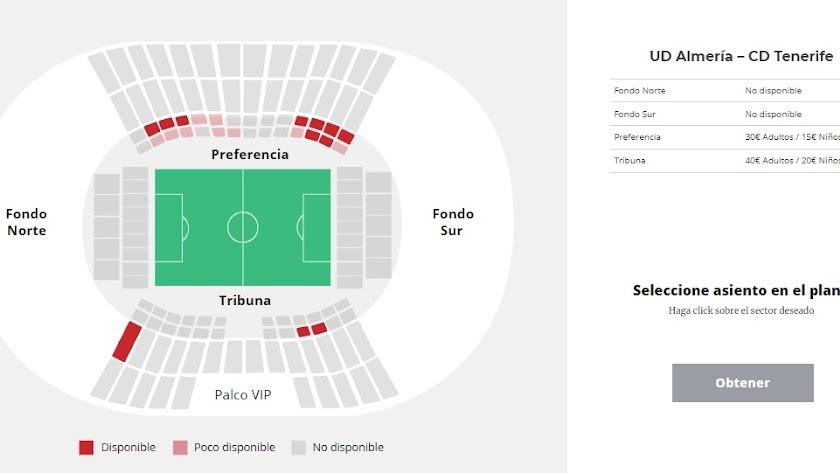 Las zonas que quedan libres coloreadas en rojo y el precio de las entradas.