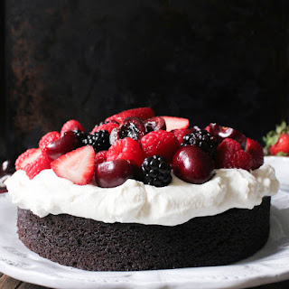 Foolproof Chocolate Cake with Whipped Cream and Fresh Berries.