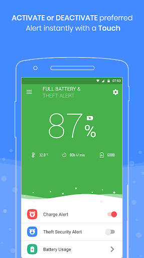 Full Battery Charge Alarm and Theft Security Alert 2.7 screenshots 1