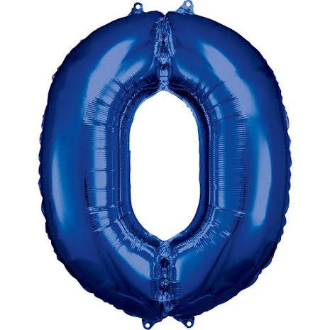 Folieballong siffra, 0 blå 86 cm