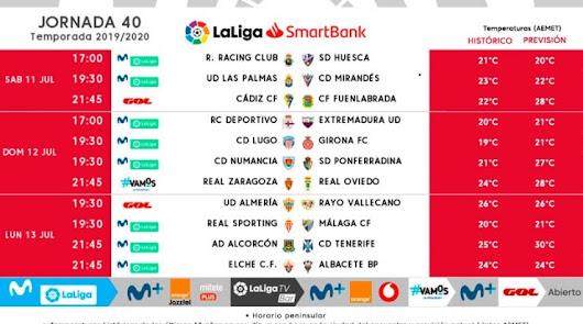 Jornada 40 en Segunda División.