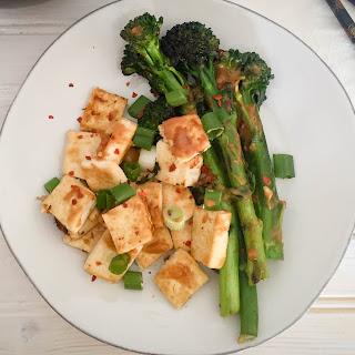 Dry Fried Tofu with Broccolini + Thai Peanut Sauce.