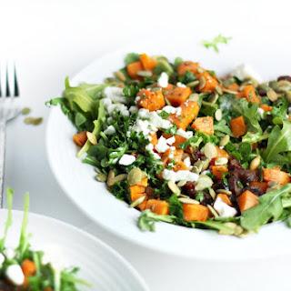 Roasted Sweet Potato Date Salad with Feta and Lemony Parsley Dressing.