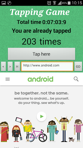 Tap to top with web browser