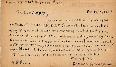 Photo: This 1924 SW Listener Card is from Dean Loveland in Uniontown, PA to 2ANM