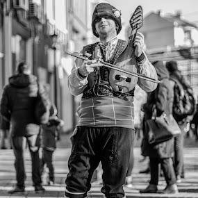 Bulgarian fiddle  by Svetoslava Todorova - People Musicians & Entertainers ( plovdiv, bulgarian fiddle, folk musician, pedestrian path, bulgaria,  )