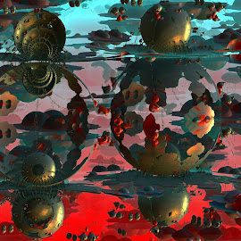 Space Floaters by Rick Eskridge - Illustration Sci Fi & Fantasy ( fantasy, mb3d, space, fractal, twisted brush )