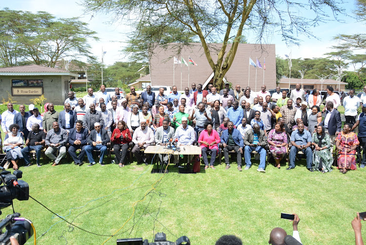 Jubilee MPs and senators allied to Deputy President William Ruto during a press conference at the end of a two-day retreat at Lake Naivasha Resort.